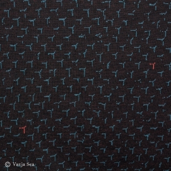 3D Organic Knitted Fabric, black/petrol