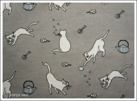 Meow Organic Knitted Fabric, grey/light blue